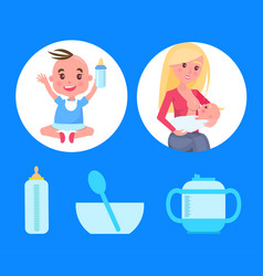 Posters set with baby boy sitting bottle of milk vector