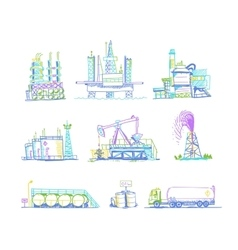 Production storage of oil transportation drawings vector image