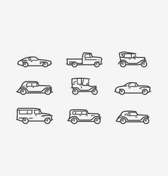 retro car icon set transport transportation vector image