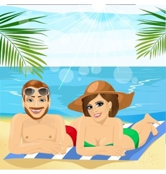 Romantic couple lying together on towel at beach vector
