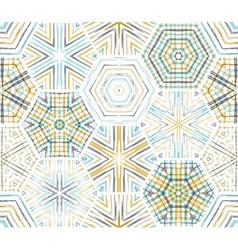 Seamless ethnic textile hexagons pattern vector
