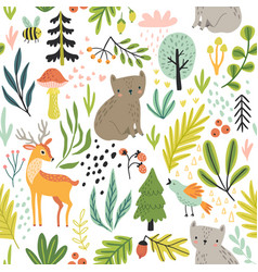 Seamless forest pattern with wild animals plants vector