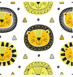 seamless pattern with face lion in scandinavian vector image