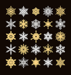 set of gold and silver snowflakes silhouette vector image