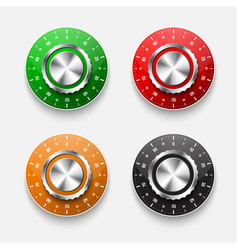 set of mechanical safe locks with a colored vector image