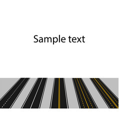 set of roads with white and yellow markings in vector image