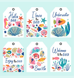 set underwater sea life tags vector image