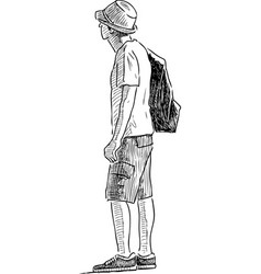 Sketch a lonely tourist vector