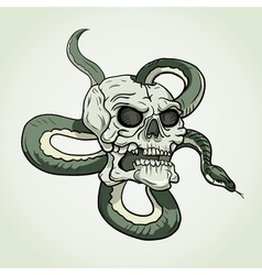 Skull and snake tattoo vector