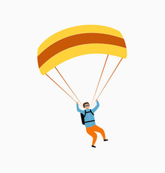 skydiver flying with parachute skydiving vector image
