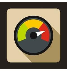 Speedometer at maximum speed icon flat style vector