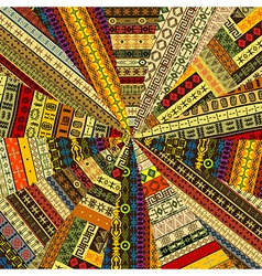 Sunburst made of patchwork fabric witf ethnic vector
