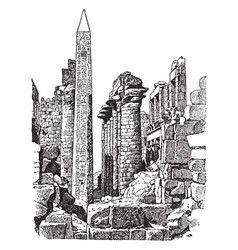 Temple of the sun at karnak gods vintage engraving vector