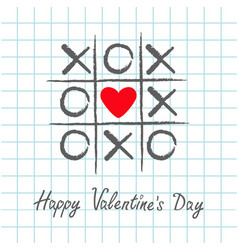 tic tac toe game with criss cross and red heart vector image