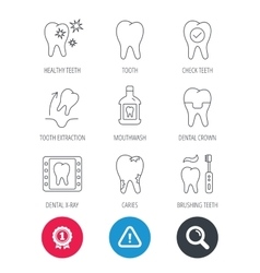 Tooth dental crown and mouthwash icons Caries vector