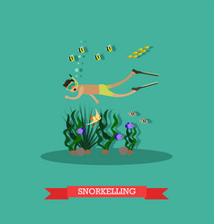 Trip to egypt snorkeling concept flat vector