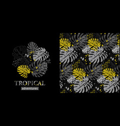 tropical modern pattern with monstera leaves in vector image