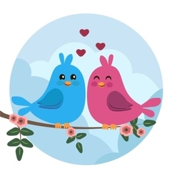 Two colorful birds sitting on a branch vector