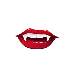 Vampire mouth with long fangs cartoon icon vector