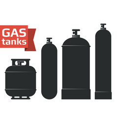 Various gas tanks silhouette icons set vector