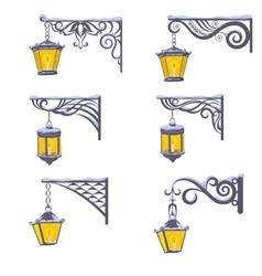 Vintage street lanterns with snow vector