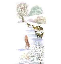 Watercolor winter landscape with deers vector