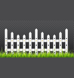 White wooden fence with green grass vector