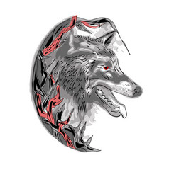 Wolf in the bushes vector