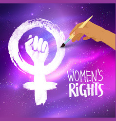 woman hand drawing feminism protest symbol vector image