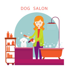 Woman with dog grooming shop vector