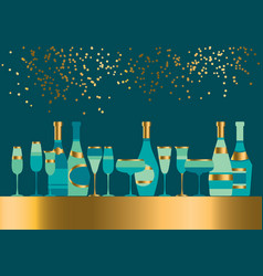 xmas simple laconic champagne elements vector image