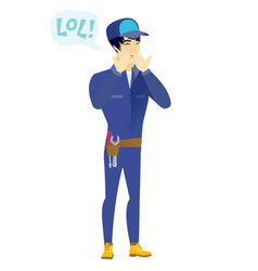 Young asian mechanic laughing out loud vector