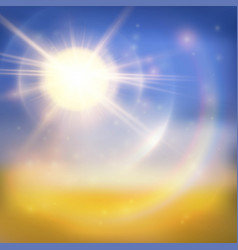 Bright sun summer background vector