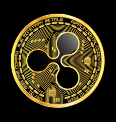 crypto currency ripple golden symbol vector image