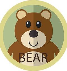 Cute brown bear cartoon flat icon avatar round vector image