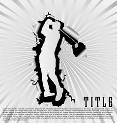 golf silhouette break through white background vector image