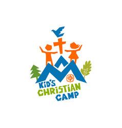 logo of kids christian camp vector image