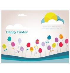Happy hipster Easter colorful spring weather with vector image