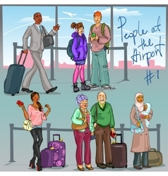 People at the Airport - part 1 vector image