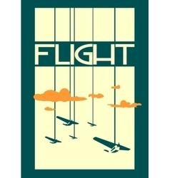 Retro airplanes flight on striped backdrop vector