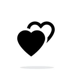 Two hearts icon on white background vector image