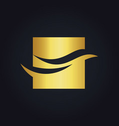 Wave abstract square business finance gold logo vector