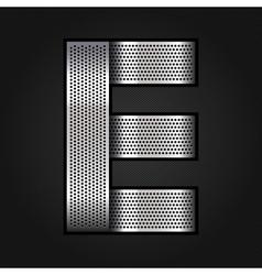 Letter metal chrome ribbon - E vector image
