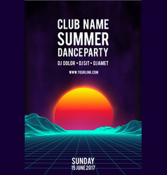 night dance party poster background 80s vector image