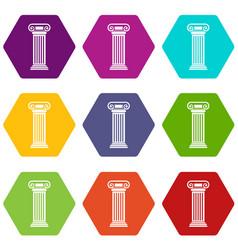 roman column icon set color hexahedron vector image