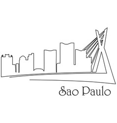 sao paolo city one line drawing vector image