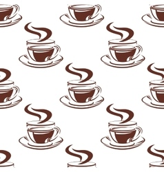 Simple hot coffee cups seamless pattern vector image