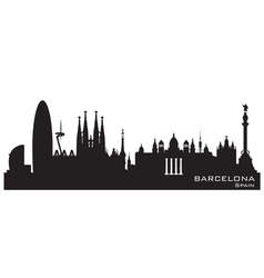 Barcelona Spain skyline Detailed silhouette vector image vector image