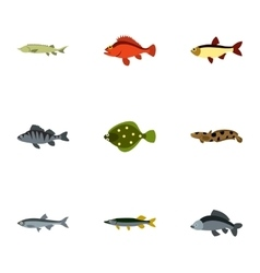 Ocean fish icons set flat style vector image vector image