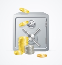 Safe and Money Different Coins vector image